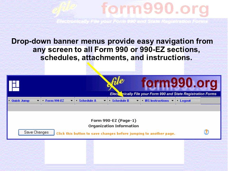 Sample of 990-EZ, Part I, Revenues Section
