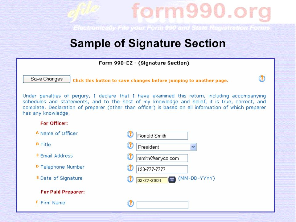 Sample of Signature Section