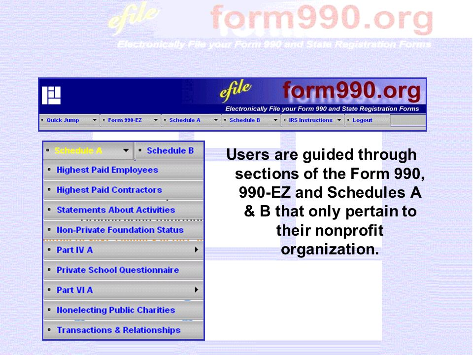 IRS instructions are available from any screen.