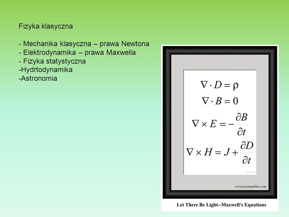 Fizyka klasyczna - Mechanika klasyczna – prawa Newtona - Elektrodynamika – prawa Maxwella - Fizyka statystyczna -Hydrtodynamika -Astronomia