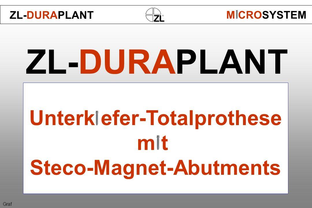 ZL-DURAPLANT Unterk efer-Totalprothese m t Steco-Magnet-Abutments ZL-DURAPLANT M CROSYSTEM Graf