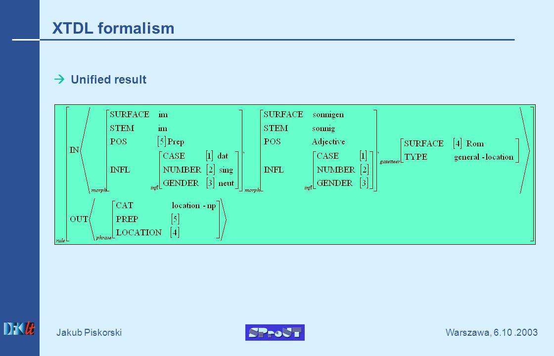 Warszawa, 6.10.2003 Jakub Piskorski Unified result XTDL formalism