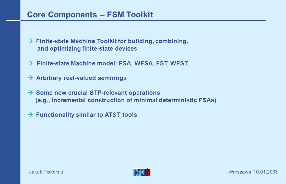 Warszawa, 10.01.2003 Jakub Piskorski Core Components – Regular Compiler Definition and configuration via XML Unicode compatible Extendible set of circa 20 operations Scanner definitions vs.