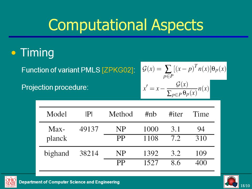 18/10 Department of Computer Science and Engineering Computational Aspects Timing Function of variant PMLS [ZPKG02]: Projection procedure: