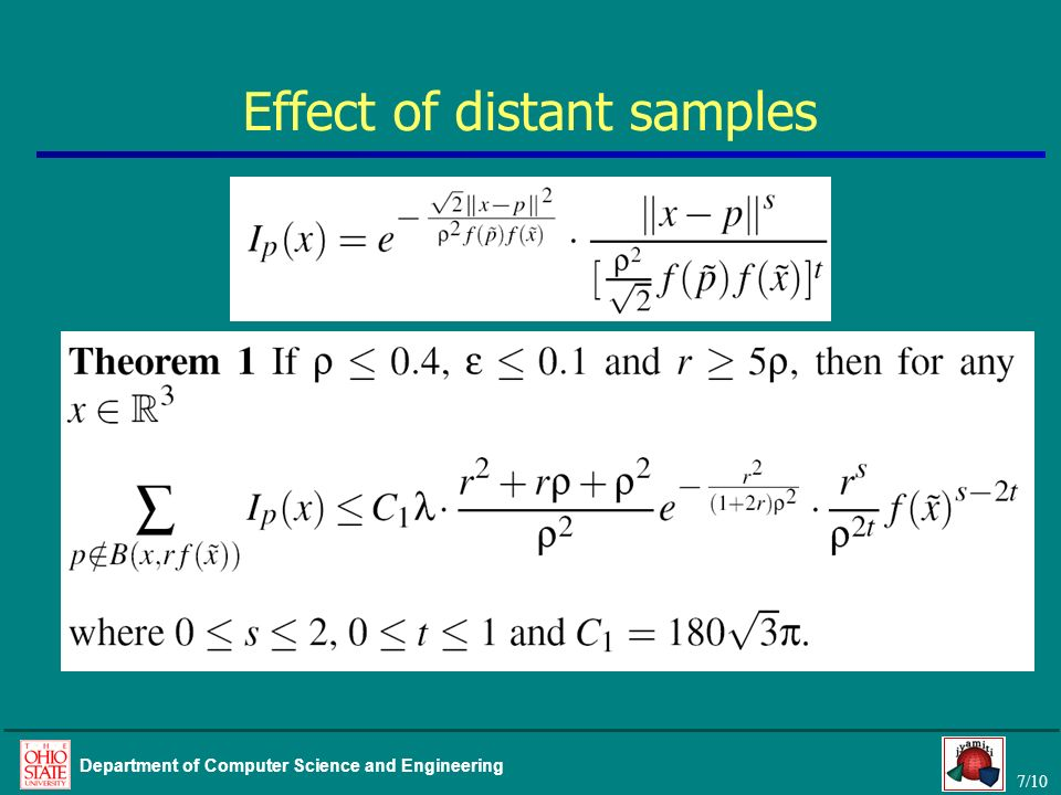 7/10 Department of Computer Science and Engineering Effect of distant samples