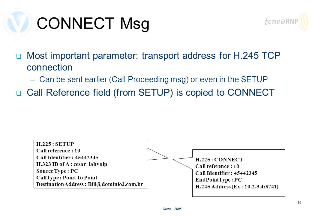Clara - 2005 30 CONNECT Msg Most important parameter: transport address for H.245 TCP connection –Can be sent earlier (Call Proceeding msg) or even in