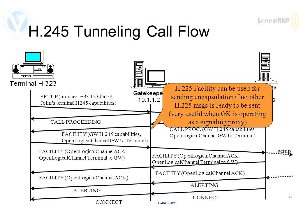 Clara - 2005 47 H.245 Tunneling Call Flow SETUP (number=+33 12345678, Johns terminal H245 capabilities) ALERTING CONNECT SETUP (number=+33 12345678, J