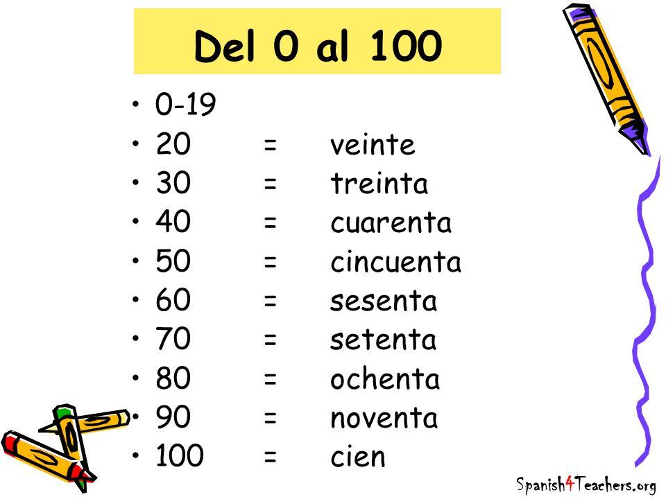 Del 0 al 100 0-19 20=veinte 30=treinta 40=cuarenta 50=cincuenta 60=sesenta 70=setenta 80=ochenta 90=noventa 100=cien Spanish4Teachers.org