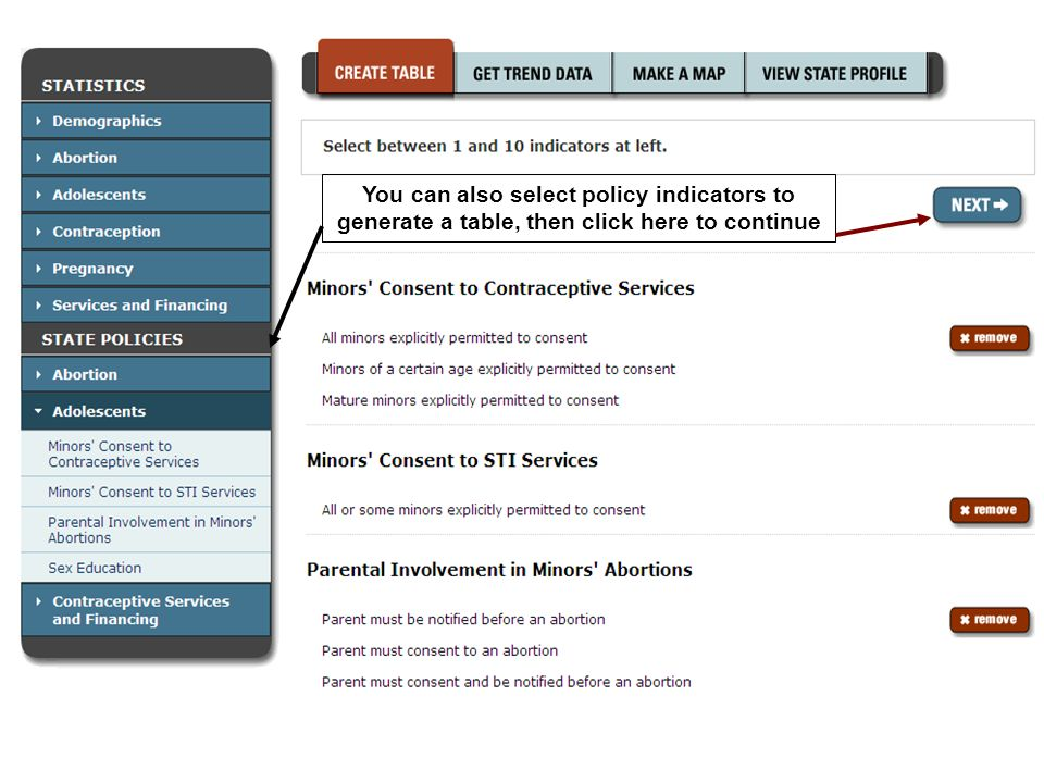 You can also select policy indicators to generate a table, then click here to continue