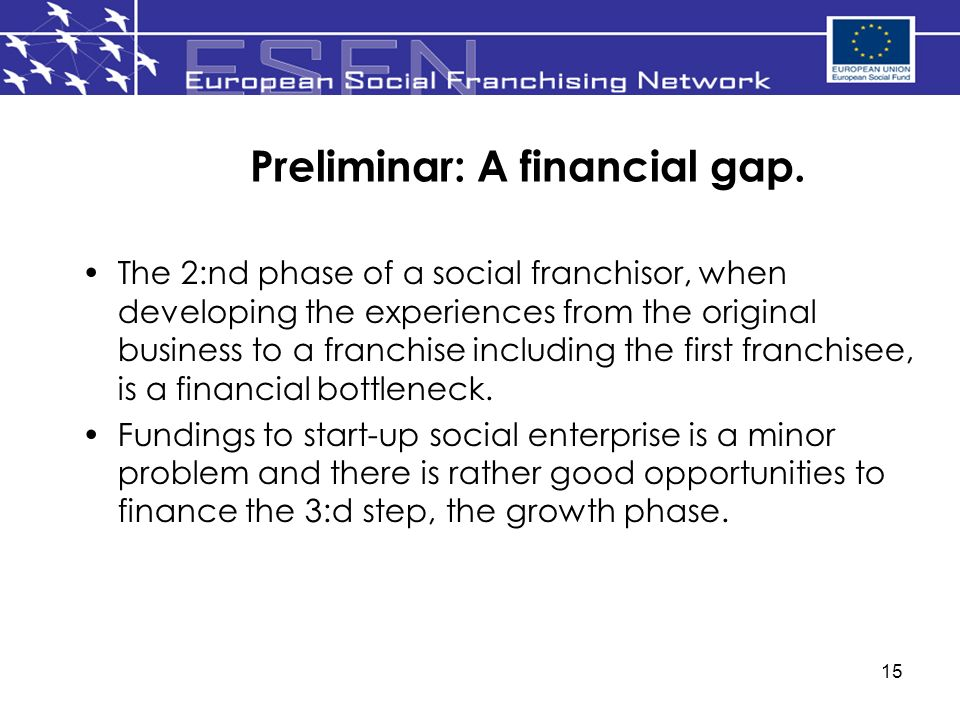 15 Preliminar: A financial gap. The 2:nd phase of a social franchisor, when developing the experiences from the original business to a franchise inclu