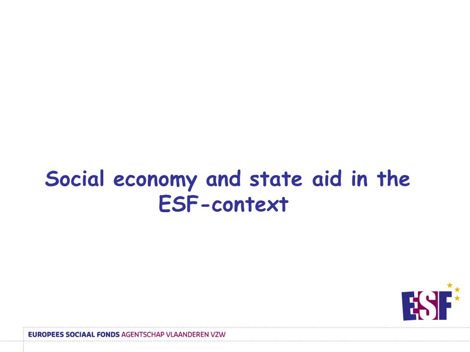 Social economy and state aid in the ESF-context