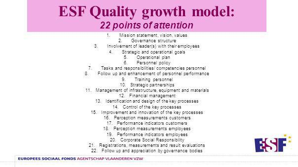 ESF Quality growth model: development stages Focus on activities (1) Process oriented (2) Integral involvement (3) Externally oriented (4) Excellence (5)