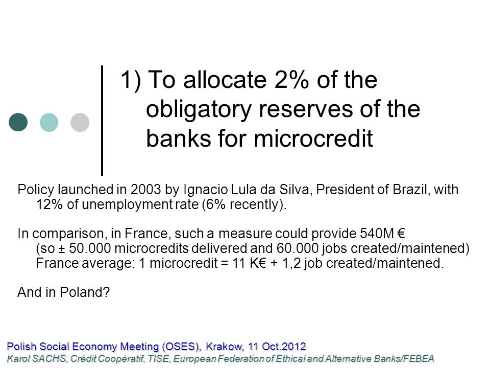 1) To allocate 2% of the obligatory reserves of the banks for microcredit Polish Social Economy Meeting (OSES), Krakow, 11 Oct.2012 Karol SACHS, Crédit Coopératif, TISE, European Federation of Ethical and Alternative Banks/FEBEA Policy launched in 2003 by Ignacio Lula da Silva, President of Brazil, with 12% of unemployment rate (6% recently).