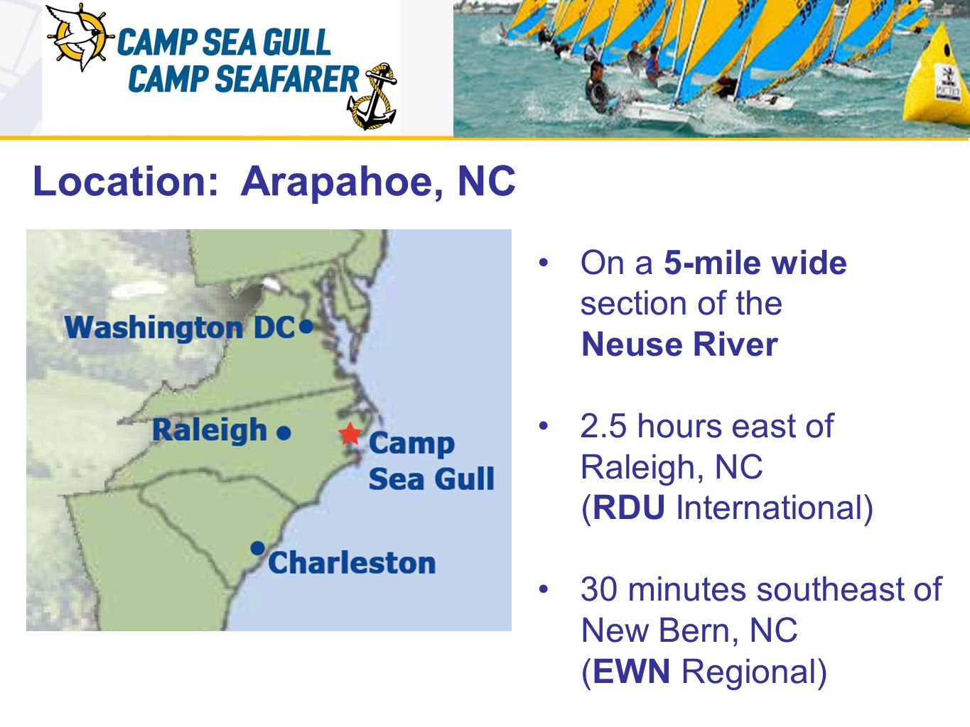 Racing Area 5-mile wide section of the Neuse River 100 boats on the line at 2012 Opti SE Champs