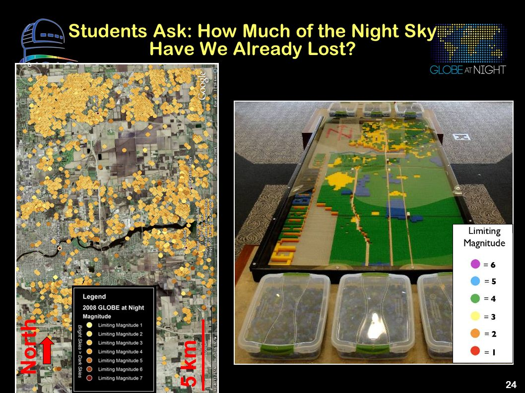 24 Students Ask: How Much of the Night Sky Have We Already Lost? 5 km North