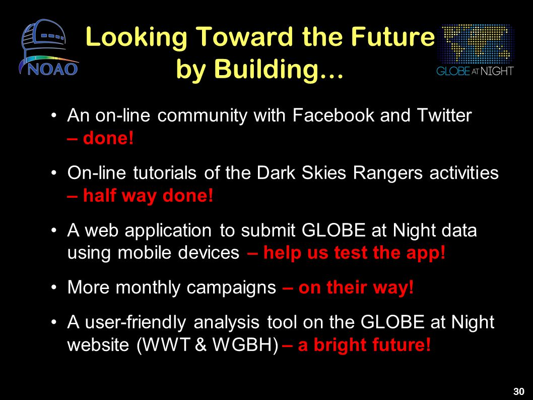 30 Looking Toward the Future by Building... An on-line community with Facebook and Twitter – done! On-line tutorials of the Dark Skies Rangers activit