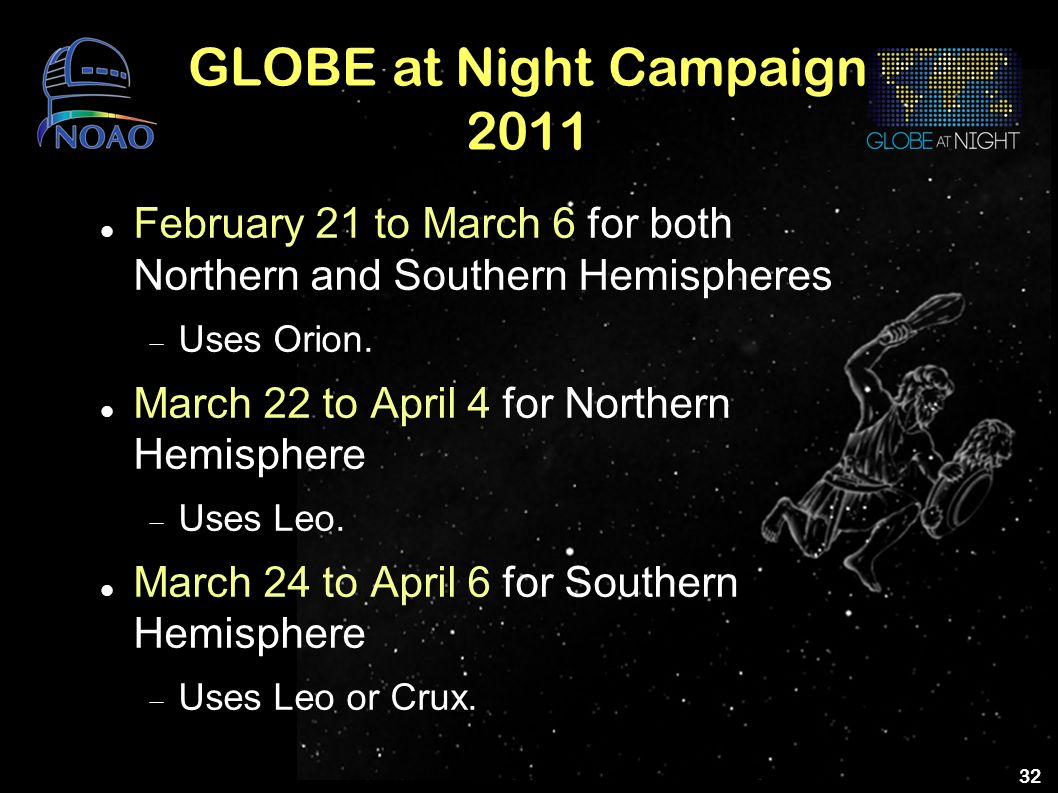 32 GLOBE at Night Campaign 2011 February 21 to March 6 for both Northern and Southern Hemispheres Uses Orion. March 22 to April 4 for Northern Hemisph