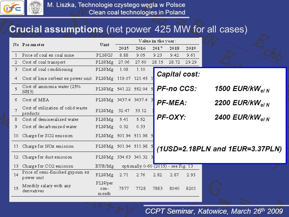 Crucial assumptions (net power 425 MW for all cases) Capital cost: PF-no CCS:1500 EUR/kW el N PF-MEA:2200 EUR/kW el N PF-OXY:2400 EUR/kW el N (1USD=2.