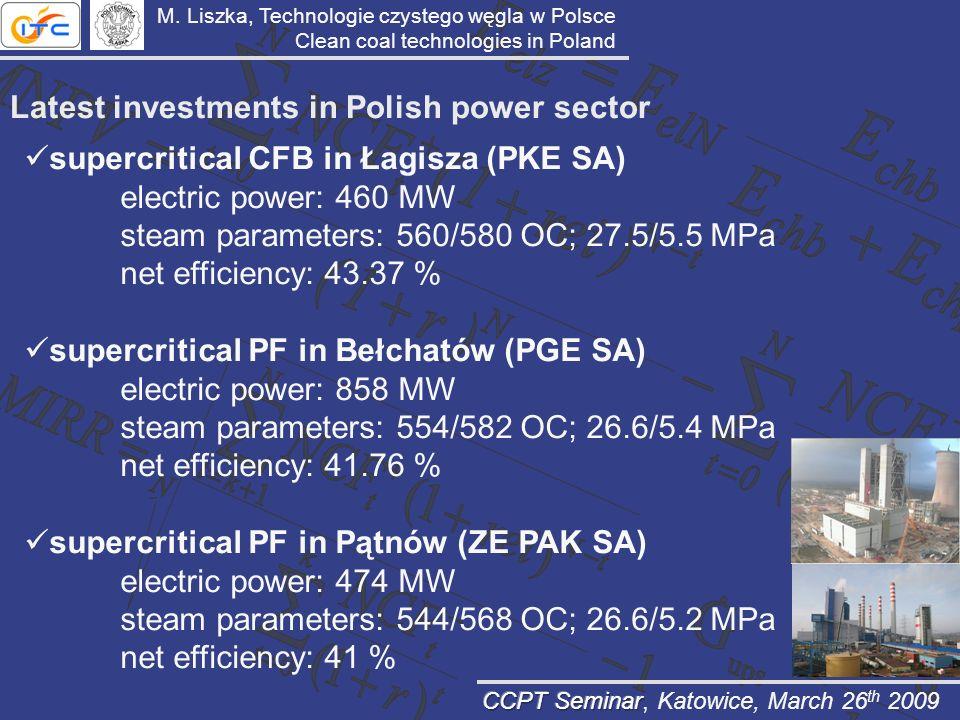 Latest investments in Polish power sector M. Liszka, Technologie czystego węgla w Polsce Clean coal technologies in Poland supercritical CFB in Łagisz