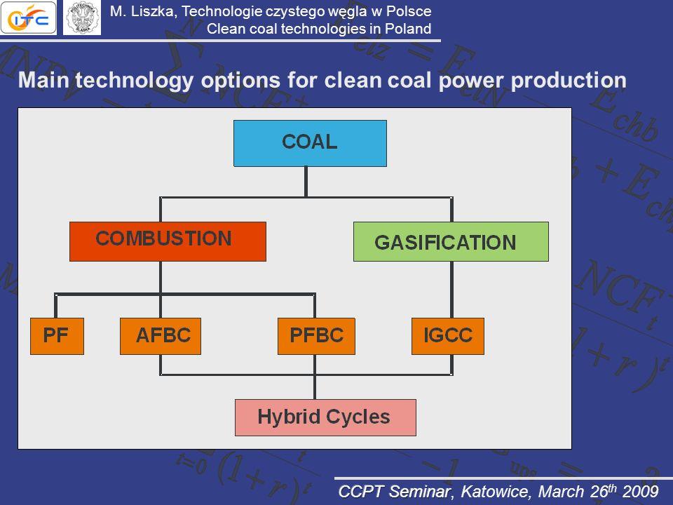 Main technology options for clean coal power production M. Liszka, Technologie czystego węgla w Polsce Clean coal technologies in Poland