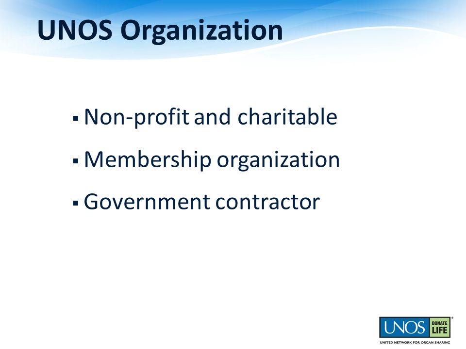 UNOS Organization Non-profit and charitable Membership organization Government contractor