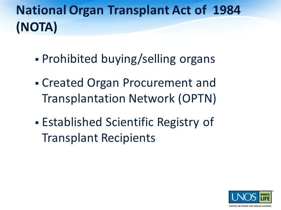National Organ Transplant Act of 1984 (NOTA) Prohibited buying/selling organs Created Organ Procurement and Transplantation Network (OPTN) Established