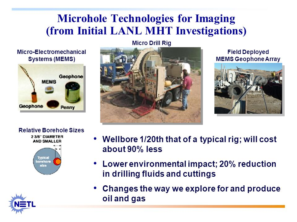 Wellbore 1/20th that of a typical rig; will cost about 90% less Lower environmental impact; 20% reduction in drilling fluids and cuttings Changes the