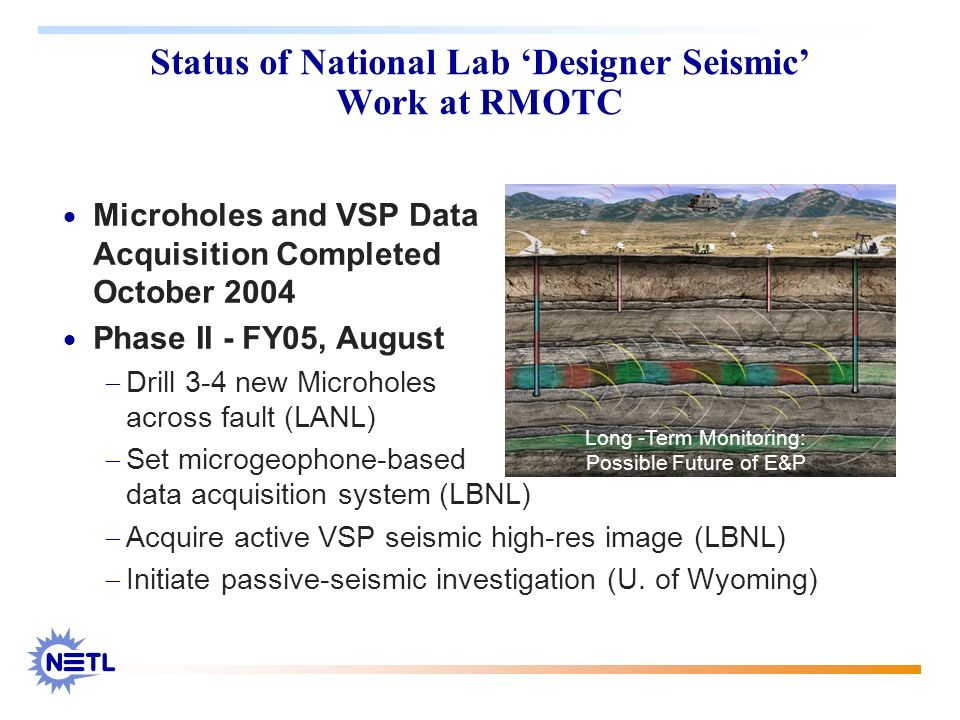 Status of National Lab Designer Seismic Work at RMOTC Microholes and VSP Data Acquisition Completed October 2004 Phase II - FY05, August Drill 3-4 new