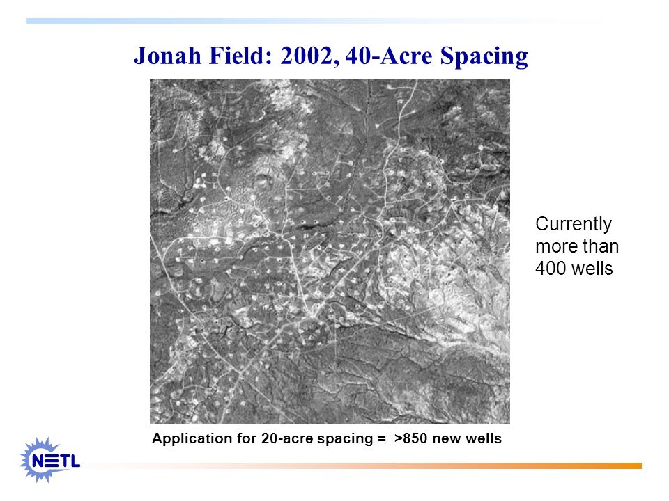 Jonah Field: 2002, 40-Acre Spacing Application for 20-acre spacing = >850 new wells Currently more than 400 wells
