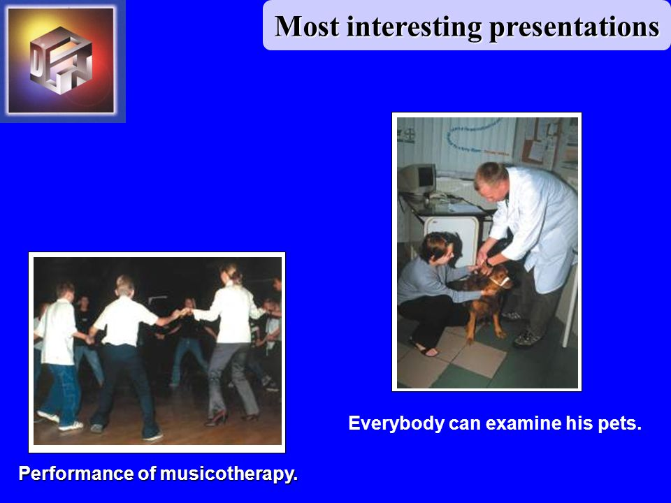 Most interesting presentations Performance of musicotherapy. Everybody can examine his pets.