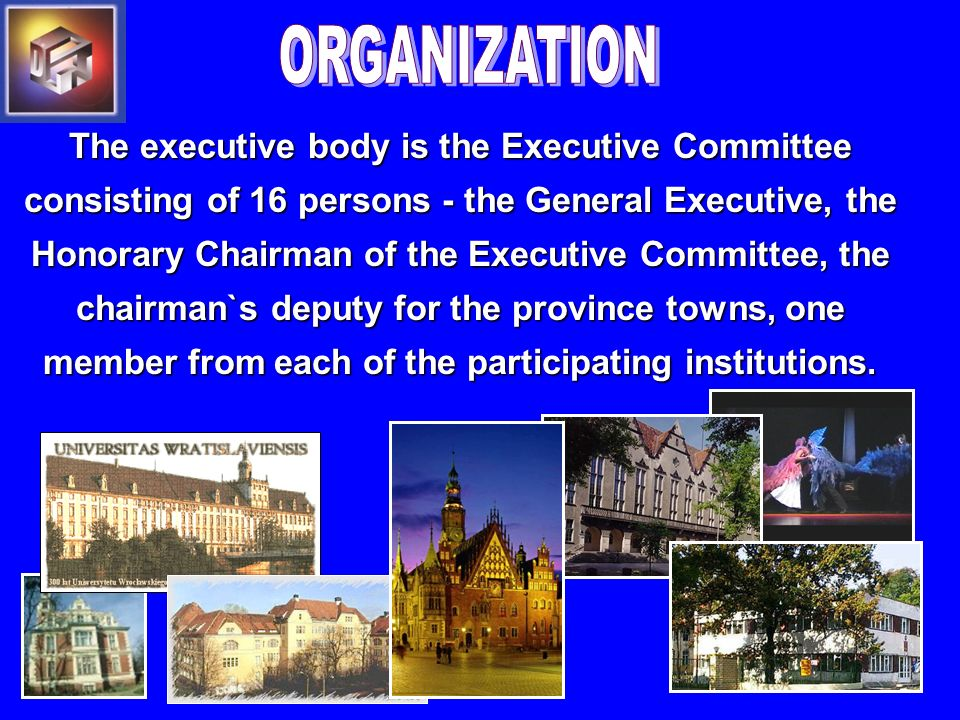The executive body is the Executive Committee consisting of 16 persons - the General Executive, the Honorary Chairman of the Executive Committee, the chairman`s deputy for the province towns, one member from each of the participating institutions.
