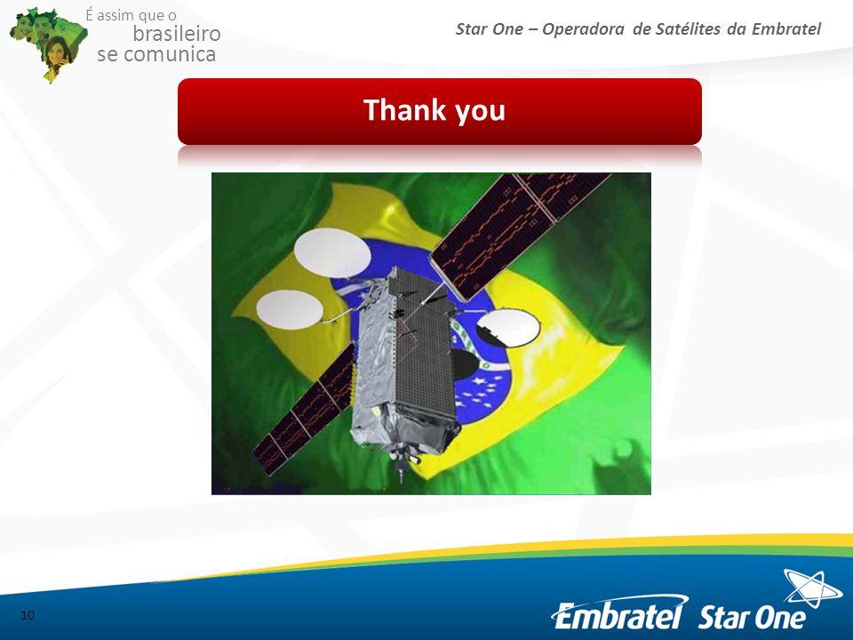 Star One – Operadora de Satélites da Embratel É assim que o brasileiro se comunica Thank you 10