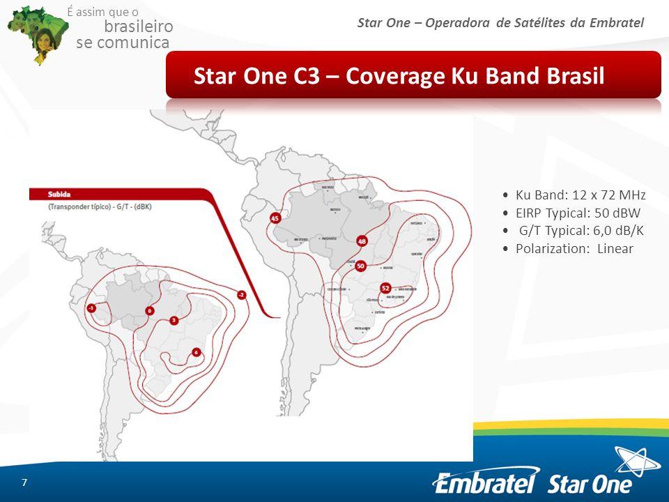 Star One – Operadora de Satélites da Embratel É assim que o brasileiro se comunica 7 Star One C3 – Coverage Ku Band Brasil Ku Band: 12 x 72 MHz EIRP T