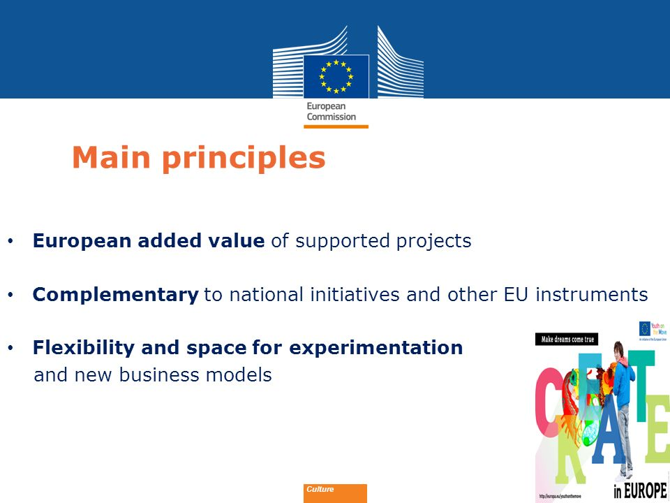 Date: in 12 pts Main principles European added value of supported projects Complementary to national initiatives and other EU instruments Flexibility