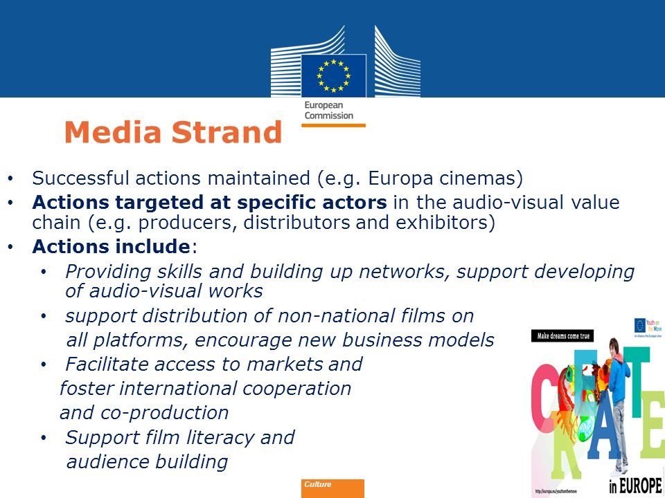 Date: in 12 pts Media Strand Successful actions maintained (e.g. Europa cinemas) Actions targeted at specific actors in the audio-visual value chain (