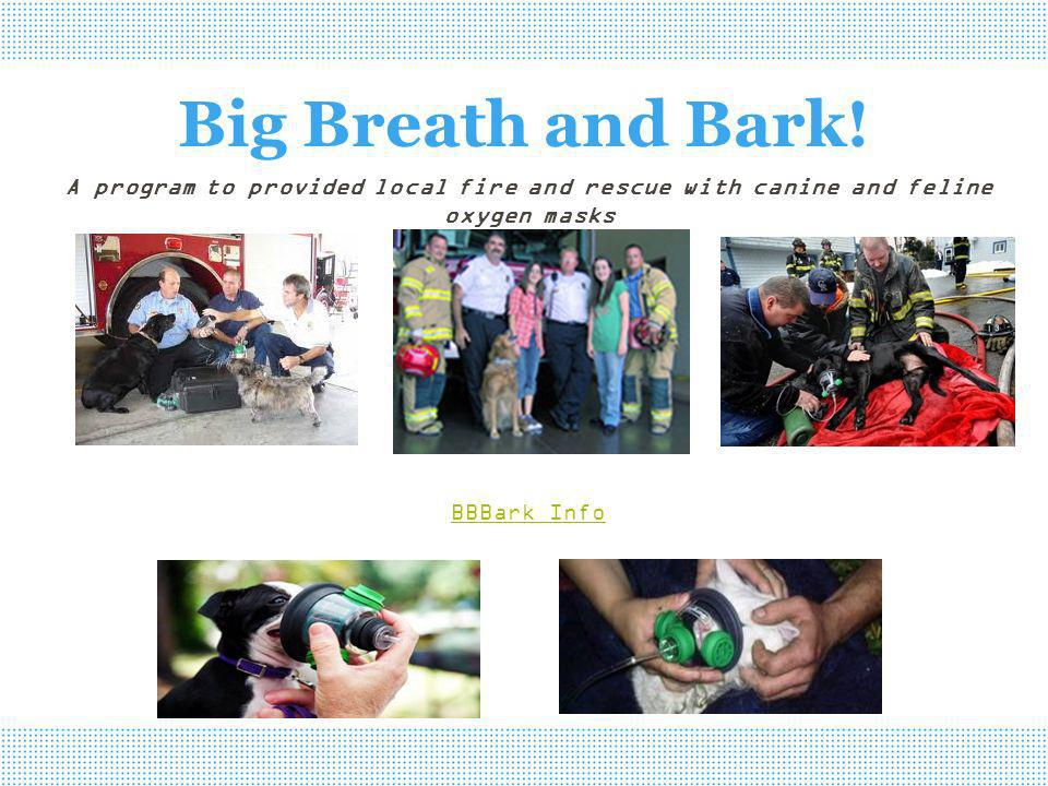 Big Breath and Bark! A program to provided local fire and rescue with canine and feline oxygen masks BBBark Info