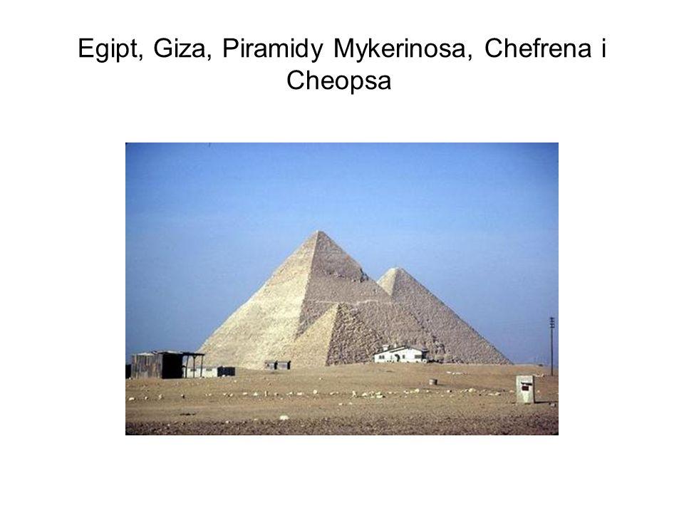Egipt, Giza, Piramidy Mykerinosa, Chefrena i Cheopsa