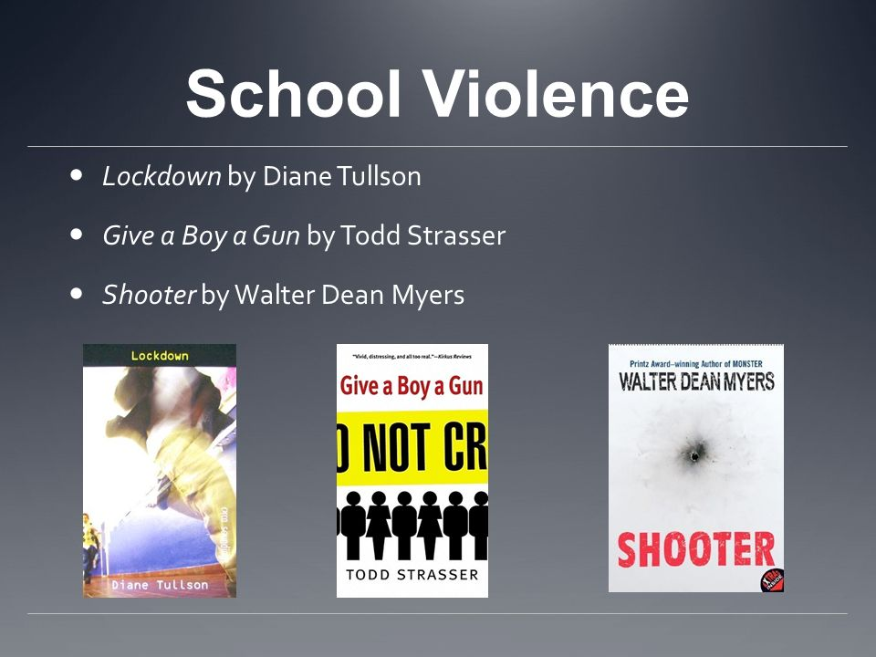 School Violence Lockdown by Diane Tullson Give a Boy a Gun by Todd Strasser Shooter by Walter Dean Myers