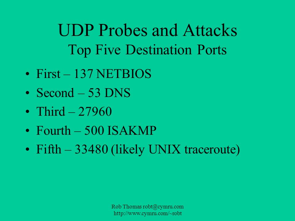 Rob Thomas robt@cymru.com http://www.cymru.com/~robt UDP Probes and Attacks Top Five Destination Ports First – 137 NETBIOS Second – 53 DNS Third – 279