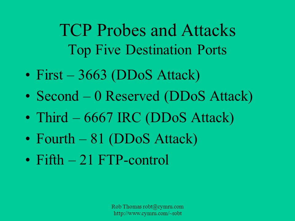 Rob Thomas robt@cymru.com http://www.cymru.com/~robt TCP Probes and Attacks Top Five Destination Ports First – 3663 (DDoS Attack) Second – 0 Reserved