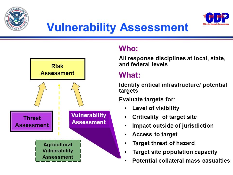 Vulnerability Assessment Risk Assessment Threat Assessment Who: All response disciplines at local, state, and federal levels What: Identify critical i