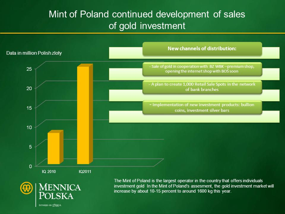 Mint of Poland continued development of sales of gold investment Data in million Polish zloty IQ 2010 IQ2011 The Mint of Poland is the largest operator in the country that offers individuals investment gold.