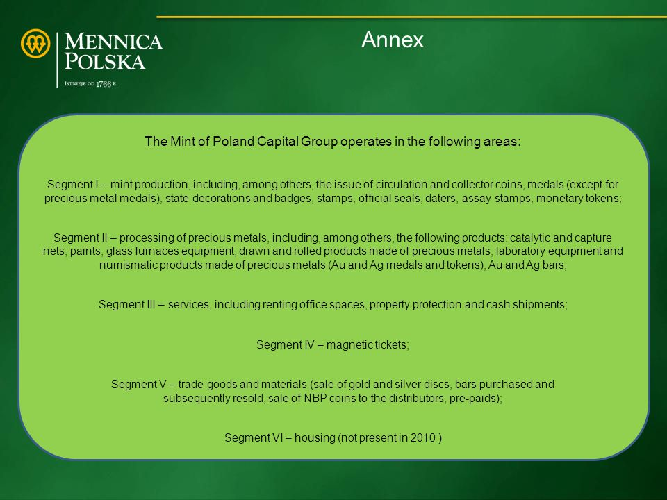 Annex The Mint of Poland Capital Group operates in the following areas: Segment I – mint production, including, among others, the issue of circulation