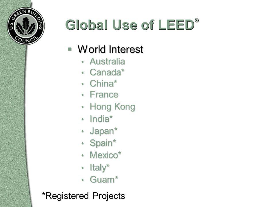 Global Use of LEED ® World Interest World Interest Australia Australia Canada* Canada* China* China* France France Hong Kong Hong Kong India* India* J