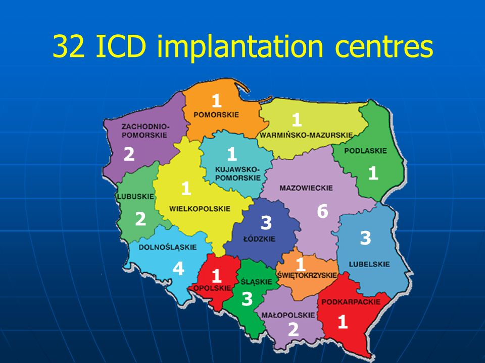 32 ICD implantation centres 4 1 3 2 3 2 6 1 1 1 1 3 1 1 1 2