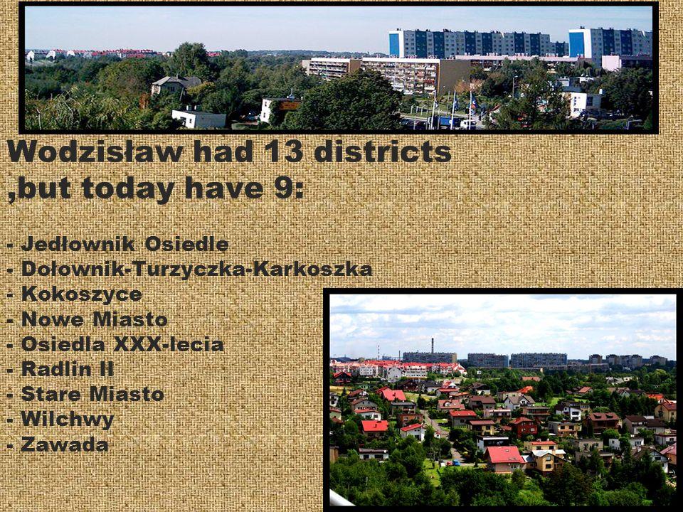 Wodzisław had 13 districts,but today have 9: - Jedłownik Osiedle - Dołownik-Turzyczka-Karkoszka - Kokoszyce - Nowe Miasto - Osiedla XXX-lecia - Radlin II - Stare Miasto - Wilchwy - Zawada