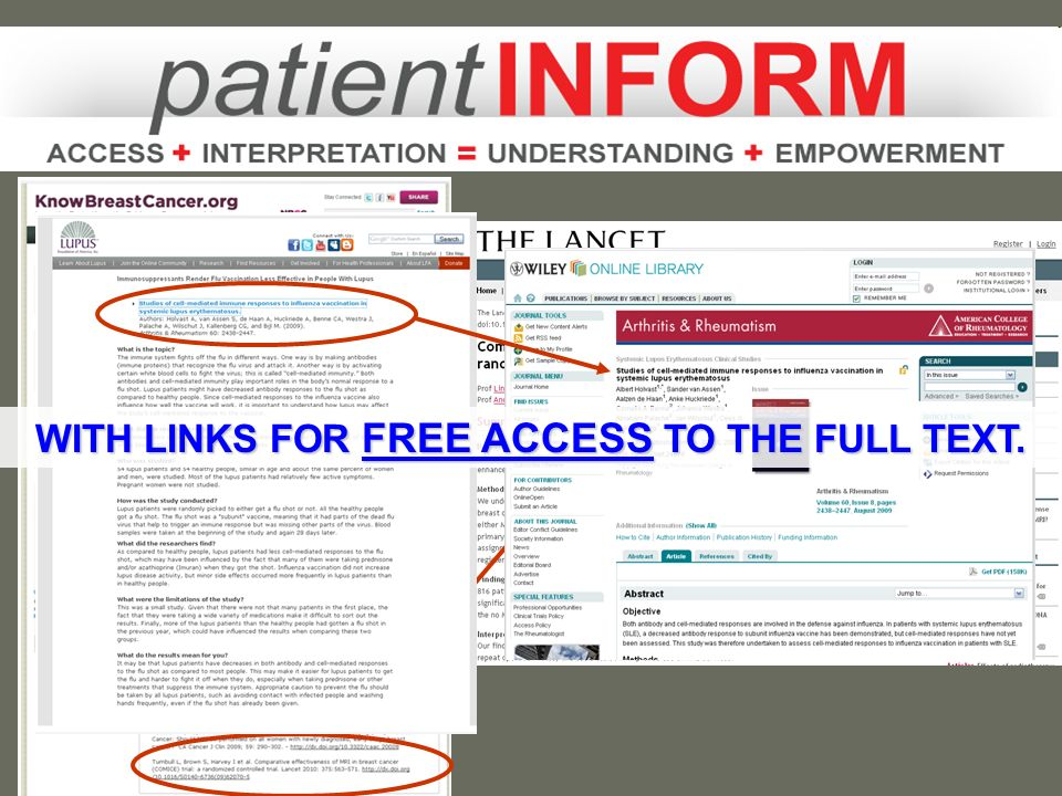 On the health organizations web sites: Hundreds of patient-friendly summariesHundreds of patient-friendly summaries Providing free access to hundreds of articlesProviding free access to hundreds of articles Selected and reviewed by experts who careSelected and reviewed by experts who care Presented in the context of other relevant informationPresented in the context of other relevant information
