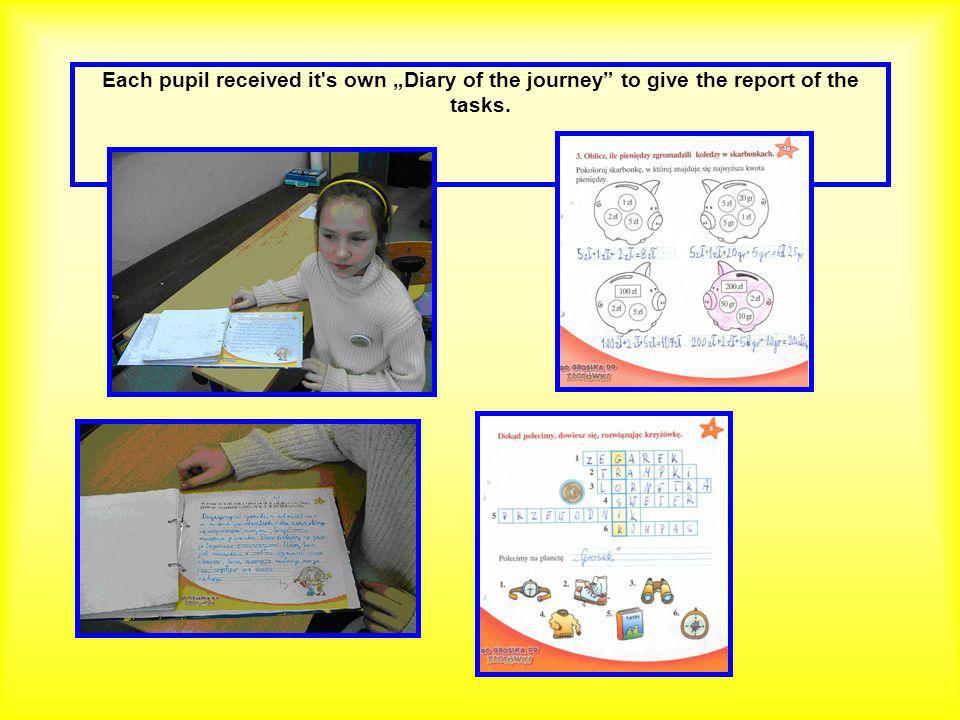 Each pupil received it s own Diary of the journey to give the report of the tasks.