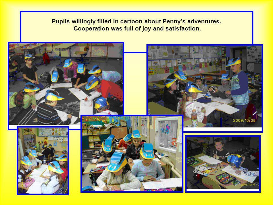 Pupils willingly filled in cartoon about Pennys adventures.