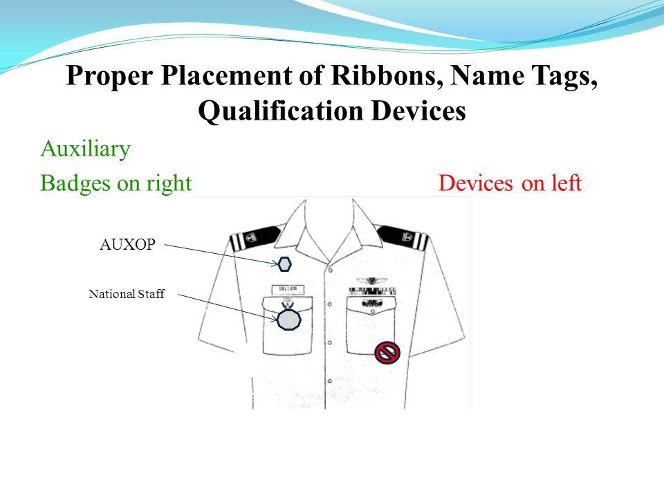 Proper Placement of Ribbons, Name Tags, Qualification Devices Auxiliary Badges on right Devices on left AUXOP National Staff